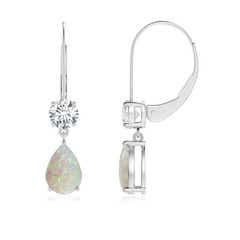 Pear Opal Leverback Drop Earrings with Diamond