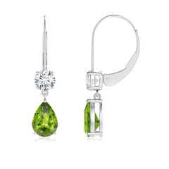 Pear Peridot Leverback Drop Earrings with Diamond