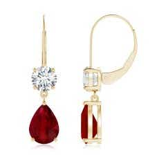 GIA Certified Pear Ruby Leverback Drop Earrings with Diamond