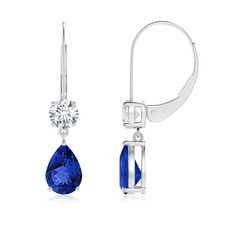Pear Tanzanite Leverback Drop Earrings with Diamond