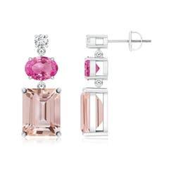 Morganite, Pink Sapphire and Diamond Dangle Earrings