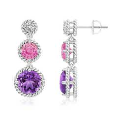 Round Diamond, Pink Sapphire & Amethyst Journey Earrings