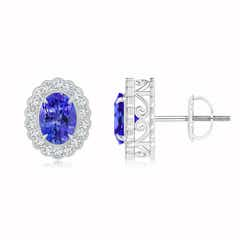 Diamond Halo Oval Tanzanite Stud Earrings with Milgrain Detailing