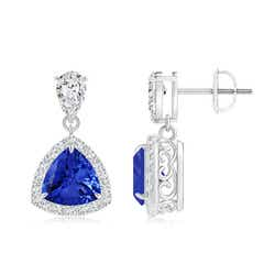 Claw Set Trillion Cut Tanzanite Halo Earrings