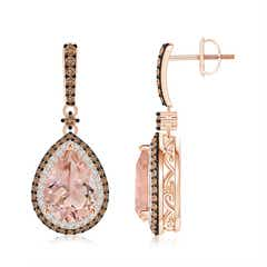 Morganite Drop Earrings with Coffee and White Diamond Halo