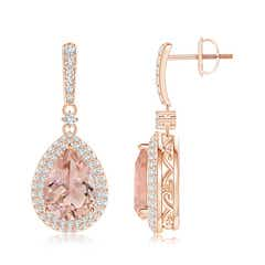 Morganite Drop Earrings with Diamond Double Halo