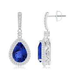 Tanzanite Drop Earrings with Diamond Double Halo