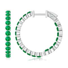 Round Emerald Inside Out Hoop Earrings