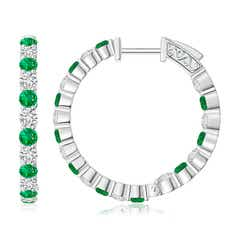 Round Emerald and Diamond Inside Out Hoop Earrings