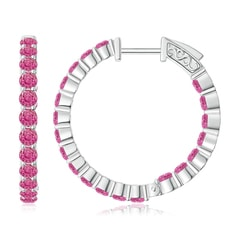 Round Pink Sapphire Inside Out Hoop Earrings