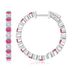 Round Pink Sapphire and Diamond Inside Out Hoop Earrings
