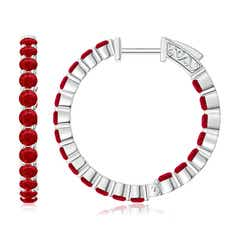 Round Ruby Inside Out Hoop Earrings