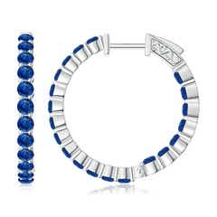 Round Sapphire Inside Out Hoop Earrings