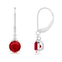 Ruby and Diamond Leverback Drop Earrings
