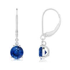 Diamond and Blue Sapphire Leverback Drop Earrings