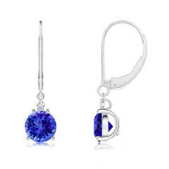 Tanzanite and Diamond Leverback Drop Earrings