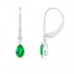 Pear-Shaped Emerald Leverback Drop Earrings with Diamond