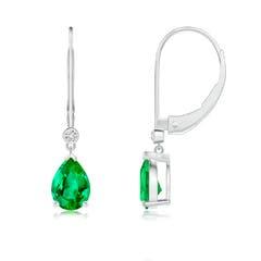 Pear-Shaped Emerald Leverback Drop Earrings with Diamond
