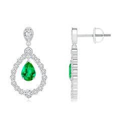 Pear Emerald Teardrop Earrings with Diamond Frame