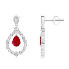 Pear Ruby Teardrop Earrings with Diamond Frame