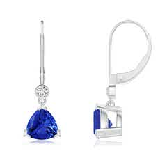 V Prong-Set Trillion Tanzanite Leverback Drop Earrings