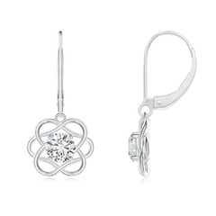 Solitaire Diamond Intertwined Flower Dangle Earrings