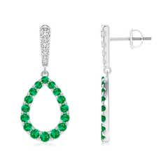 Prong-Set Emerald and Diamond Open Drop Earrings