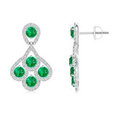 Emerald Dangle Earrings with Diamond Outline