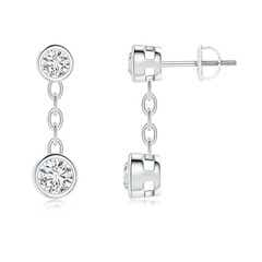 Bezel-Set Diamond Yard Chain Drop Earrings