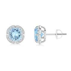 Claw-Set Aquamarine Clover Stud Earrings
