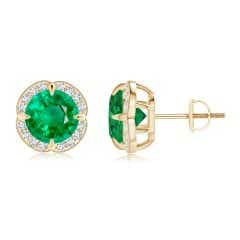 Claw-Set GIA Certified Emerald Clover Stud Earrings