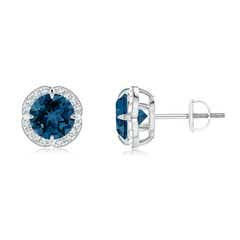 Claw-Set London Blue Topaz Clover Stud Earrings