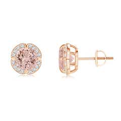 Claw-Set Morganite and Diamond Floral Halo Studs