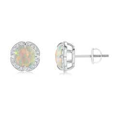Claw-Set Opal Clover Stud Earrings