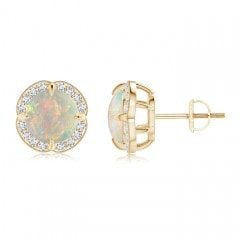 Claw-Set Cabochon Opal and Diamond Halo Studs