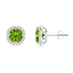 Claw-Set Peridot and Diamond Halo Studs