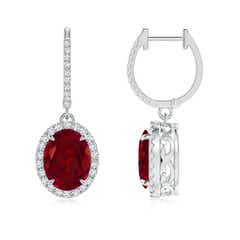 Oval Garnet Dangle Earrings with Diamond Halo