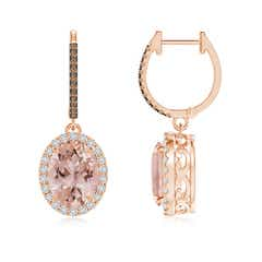 Oval Morganite Dangle Earrings with Coffee and White Diamond