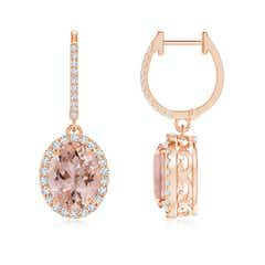 Oval Morganite Dangle Earrings with Diamond Halo