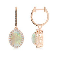 Oval Opal Dangle Earrings with Coffee and White Diamond