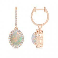 Oval Opal Dangle Earrings with Diamond Halo