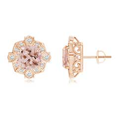 Victorian Style Cushion Morganite Halo Stud Earrings