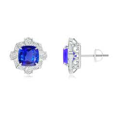 Victorian Style Cushion Tanzanite Halo Stud Earrings