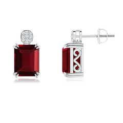 Emerald-Cut Garnet Cocktail Earrings with Diamond Cluster