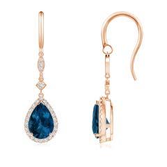 Pear Shaped London Blue Topaz Halo Drop Earrings