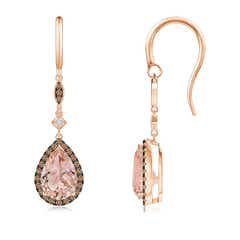 Pear-Shaped Morganite Drop Earrings with Coffee Diamonds
