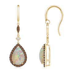 Pear-Shaped Opal Drop Earrings with Coffee Diamond Halo