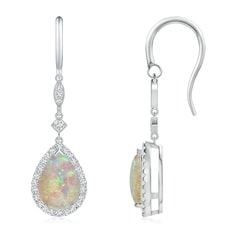 Pear-Shaped Opal Drop Earrings with Diamond Halo