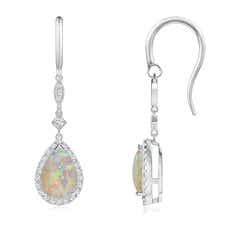Pear-Shaped Opal Drop Earrings with Diamond Halo