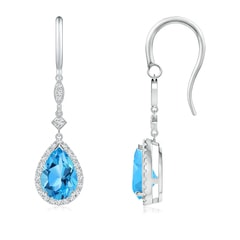 Pear-Shaped Swiss Blue Topaz Drop Earrings with Diamonds